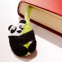 Felt panda bookmark, with bamboo sprig, made to order