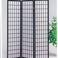 Naomi 3-Panel Wooden Screen, Black