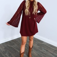 Swept Away Dress: Burgundy