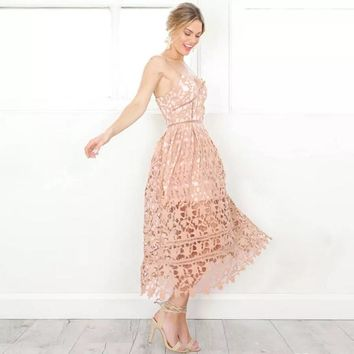 Sexy Lace Crochet Dress V Neck Women Evening Party Off Shoulder Summer Padded Dresses 2017 Hollow Out White Midi Dress Vestidos