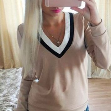 Tricolor Neck Long Sleeve Shirt