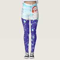 "Cute ""Santa Claus & Snowfall"" Merry Christmas Leggings"