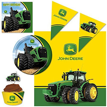 John Deere Decoration and Table Wear Supply Pack Including Table Cover, Cupcake Wraps, Flag Banner, Plates, and Napkins