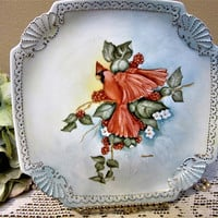Hand Painted Plate Red Bird Cardinal Dish Kitchen Home Decor or Serving Porcelain Ceramic Pottery BLM