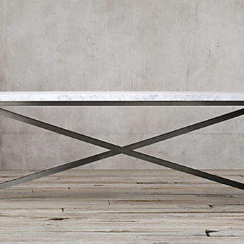 Torano Marble Table White Marble Gunmetal From Restoration
