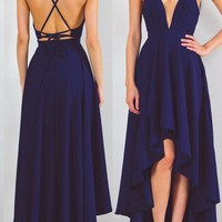 Navy Blue Tie Back Cross Back Draped Spaghetti Strap High-low Maxi Dress