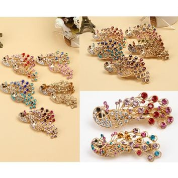 Fashion Headwear For Women Girls Barrette Peacock Shape Hairpin Decorated By Rhinestones 2 Sizes 5 Colors Headwear-0039