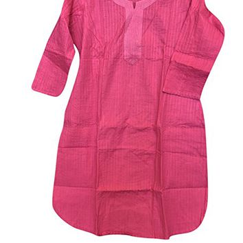 Womens Bohemian Tunic Dress Solid Loose Fit Ethnic Indian Kurti Summer Dresses Cover Up M
