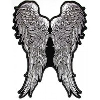Black and White Angel Wings of Feathers Patch