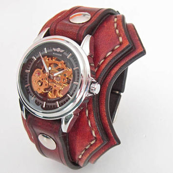 Unique Watch, Vintage Brown Leather Watch, Men's Cuff Watch, Unique Style Watch, Cool Watch, Leather Cuff