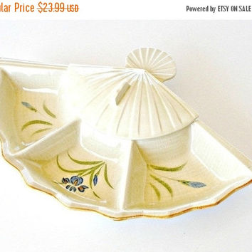 SALE Vintage Divided Serving Dish, Mid Century Pottery Relish Tray, Trinket Vanity Jewelry Dish.