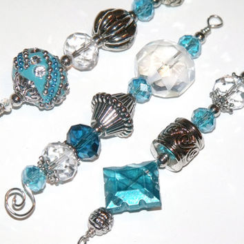 Turquoise, Silver and White Icicle Ornaments - beaded Christmas tree decorations