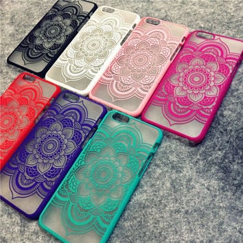 Beautiful Floral Henna Paisley Mandala Palace Flower Phone Cases Cover For iPhone 5 5s 6 4.7 6plus-0321