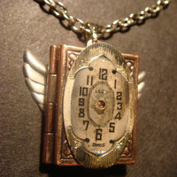 Victorian Style Steampunk Locket Necklace with Watch Face and Wings (527)