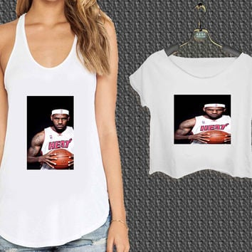 Lebron James Heat NBA Nike Basketball For Woman Tank Top , Man Tank Top / Crop Shirt, Sexy Shirt,Cropped Shirt,Crop Tshirt Women,Crop Shirt Women S, M, L, XL, 2XL*NP*