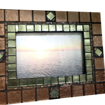 "Brown Mosaic Picture Frame // 4 x 6"" Photo Frame"