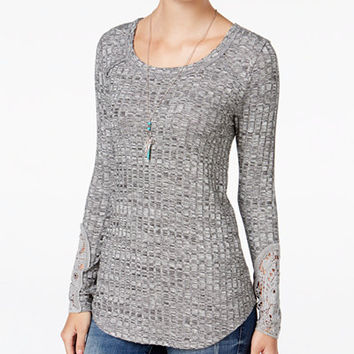 American Rag Ribbed Crocheted-Sleeve Tunic, Only at Macy's - Juniors Tops - Macy's