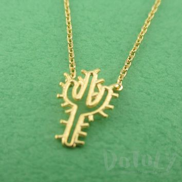Spiky Arroyo Cactus Shaped Desert Themed Charm Necklace in Gold | DOTOLY