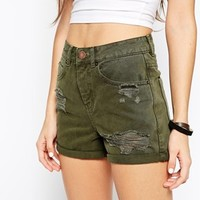 ASOS Denim Mom Shorts in Khaki with Rips