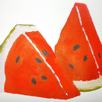 Watermelon Original water color  painting watermelon  wall art  Fruit wall art Still Life  Painting size 16/24 cm . 6 / 9 Inch
