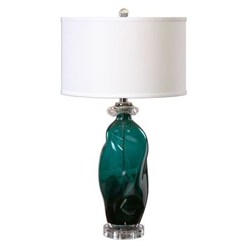Rotaldo Contemporary Teal Glass Table Lamp by Uttermost