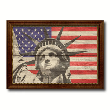 Statue of Liberty Flag Texture Canvas Print with Brown Picture Frame Gifts Home Decor Wall Art Collectible Decoration Artwork