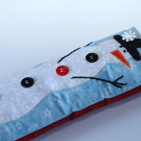 Sewing snowman pin cushion, pin cushion hand made, winter holiday collectible, winter snowman pin cushion.