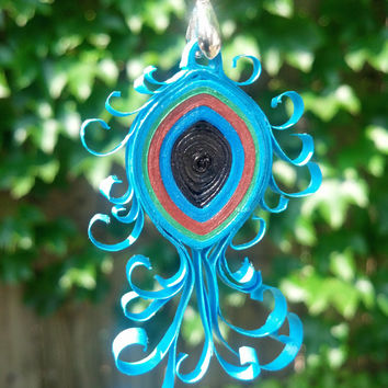 Eco-Friendly Paper Quilled Pendant Peacock Feather - Azure, Emerald, and Rust - quilling paper jewelry, turquoise jewelry, feather pendant