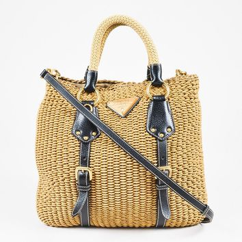 Prada Tan Beige Woven Black Grained Leather Trim Satchel Bag