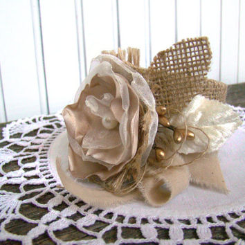 Wrist Corsage, Burlap Flower Cuff, Burlap Wedding, Wristlet, Wedding, Rustic Wedding, Mother of Bride Groom, Neutral