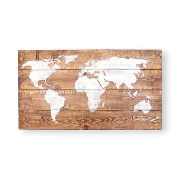 World Map Push Pin- 25x14''- World Map- Wood