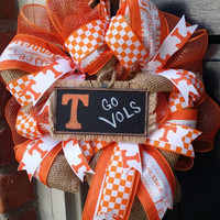 Tennessee Volunteers Wreath Go Vols Chalkboard Wreath Tennessee Football Tennessee Tailgatng iWreath Tennesse Burlap Decor Tenessee Wreath