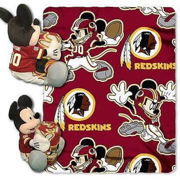 Washington Redskins NFL Mickey Mouse Throw and Hugger Pillow Set