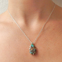 Australian Boulder Opal and Sterling Silver Pendant Necklace - Opal Pendant - Australian Opal - October Birthstone Necklace - Gift for Her