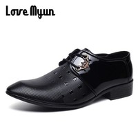 Korean Fashion men dress shoes mens patent leather shoes lace up black