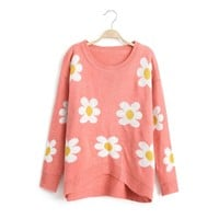ZLYC Refreshing Scoop Neck Flower Pattern Kniting Christmas Sweater For Women