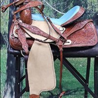 WESTERN BARREL RACING TRAIL PLEASURE HORSE RIDING SADDLE WITH HEADSTALL AND BREAST COLLAR SET- MAHOGANY/VINTAGE LIGHT OIL