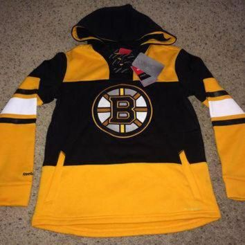 DCCK8X2 Sale!! Reebok BOSTON BRUINS Hockey Hooded Sweater NHL Jersey Shirt Jacket