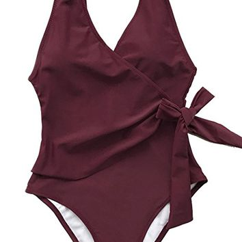 Fashion Elegant Dance Solid One-Piece Swimsuit Beach Swimwear Bathing Suit