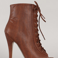 Belize-1 Lace Up Stiletto Ankle Bootie