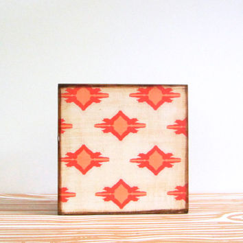 Coral Geometric Wall Decor l Art Block l Ikat Owl l 5x5 wood block coral pink pattern redtilestudio