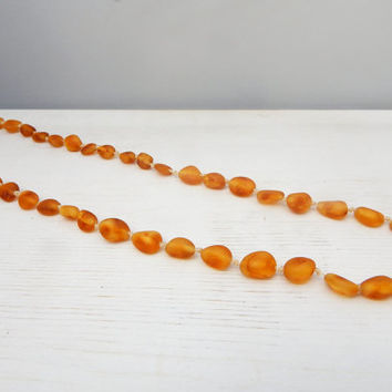 Baltic Amber Necklace for Adult/ Amber Resin Bead Jewelry/ Raw Amber Stones/ Handmade Necklace for Her/ Fall Autumn Honey Caramel Color