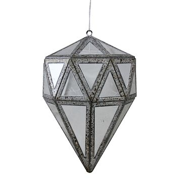 "5.5"" Winter's Beauty Mirrored Geometric Drop Christmas Ornament"
