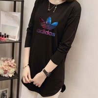 """Adidas"" Women Casual Simple Galaxy Clover Letter Print Long Sleeve Irregular T-shirt Tops"