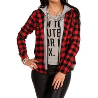 Blk/rd Hooded Plaid Knit Jacket