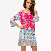 Bohemian Flower 3/4 sleeve Dress Style 4