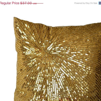 4th of July SALE Decorative Throw Pillow Covers -Gold Sequin Throw Pillows -Accent Pillow -Sparkle Pillow -Beaded Pillows -Geometric -16x16