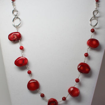 Red Coral Necklace Wire Wrapped Ruby Red Bamboo Coral Red Coral Statement Necklace