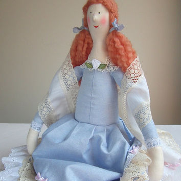 Cloth Doll,  plush doll. Stuffed doll in shabby chic blue dress. OOAK doll. Lovely gift for a girl, mom