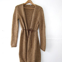 vintage light brown sweater. long cardigan sweater. leather belt.